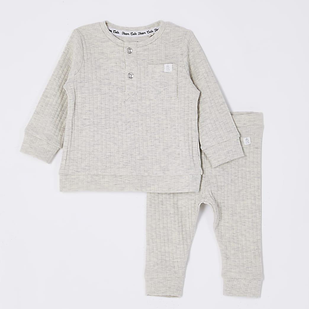 Baby grey grandad collar top outfit