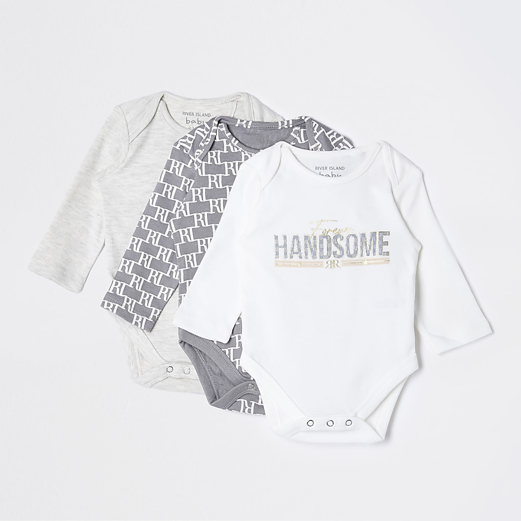 Baby grey 'Handsome' baby grow 3 pack