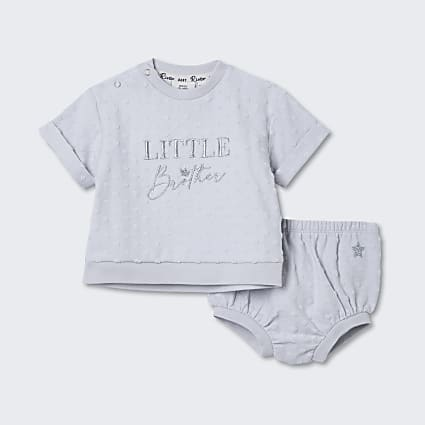 Baby grey 'Little Brother' bloomer set