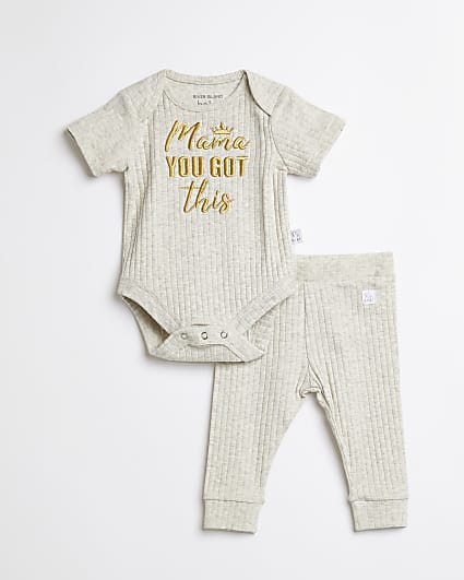 Baby grey 'Mama You Got This' outfit