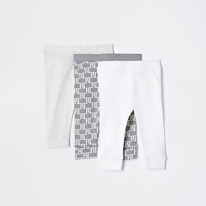 Baby grey monogram leggings 3 pack