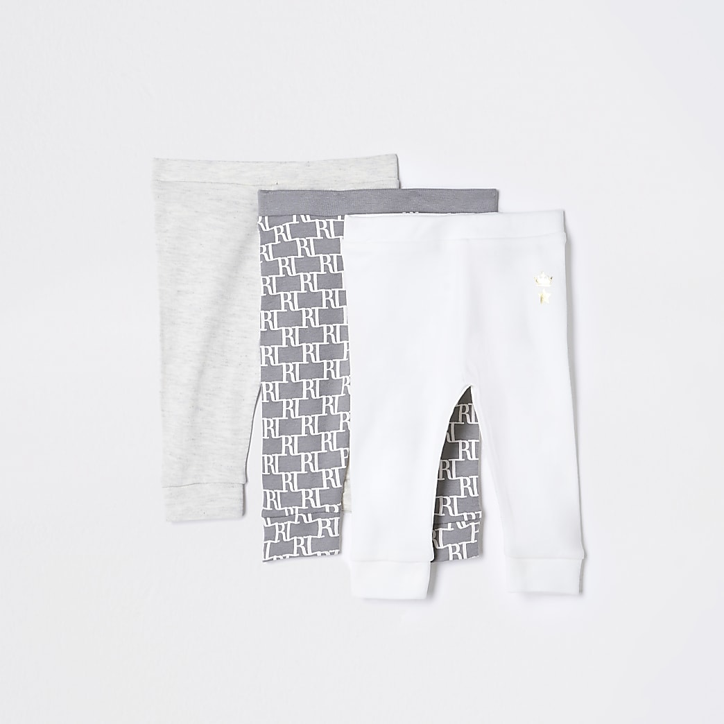 Baby grey monogram leggings 3 pack
