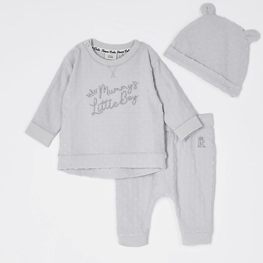 Baby grey 'mummys boy' hat set