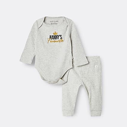 Baby grey 'Nanny's Favourite' bodysuit