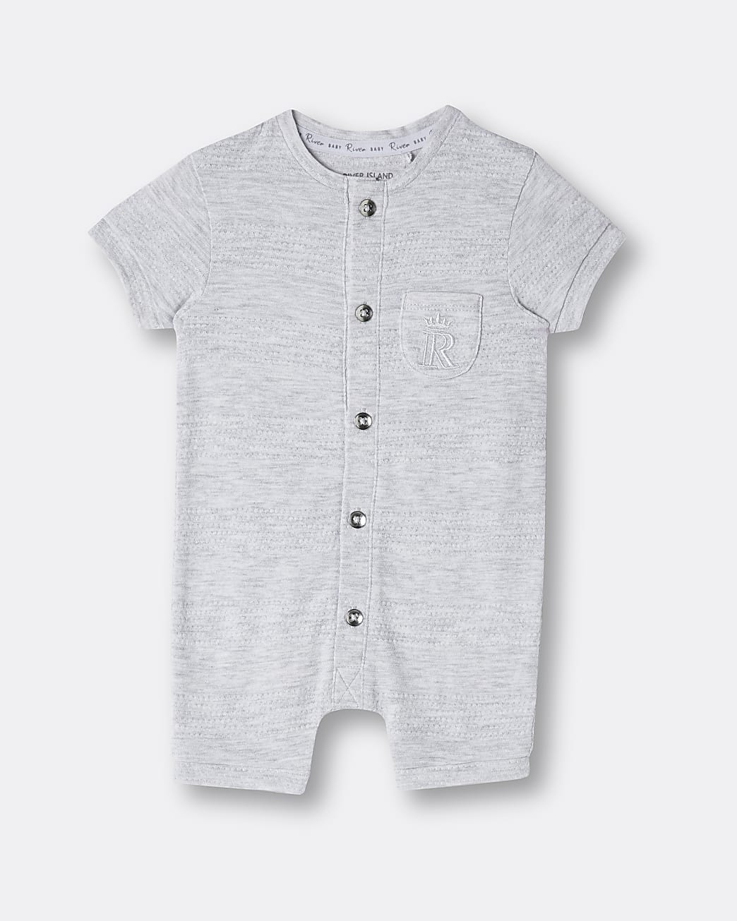Baby grey organic button front romper