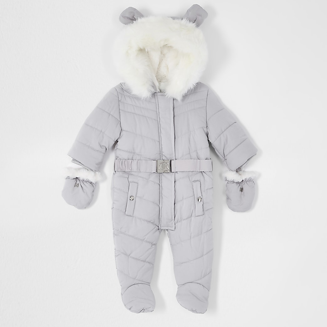 Baby grey padded snowsuit with ears
