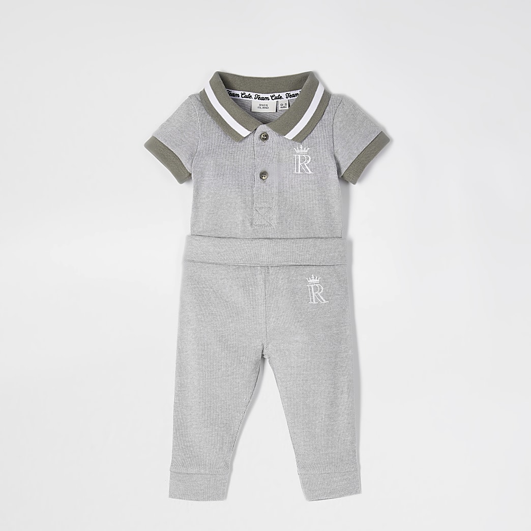 Baby grey polo bodysuit outfit