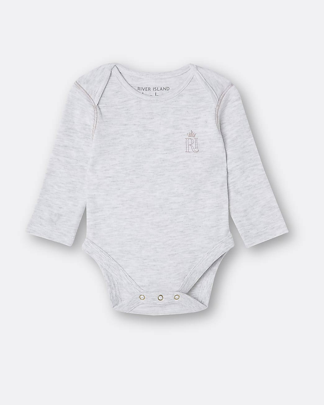 Baby grey RI embroidered babygrow