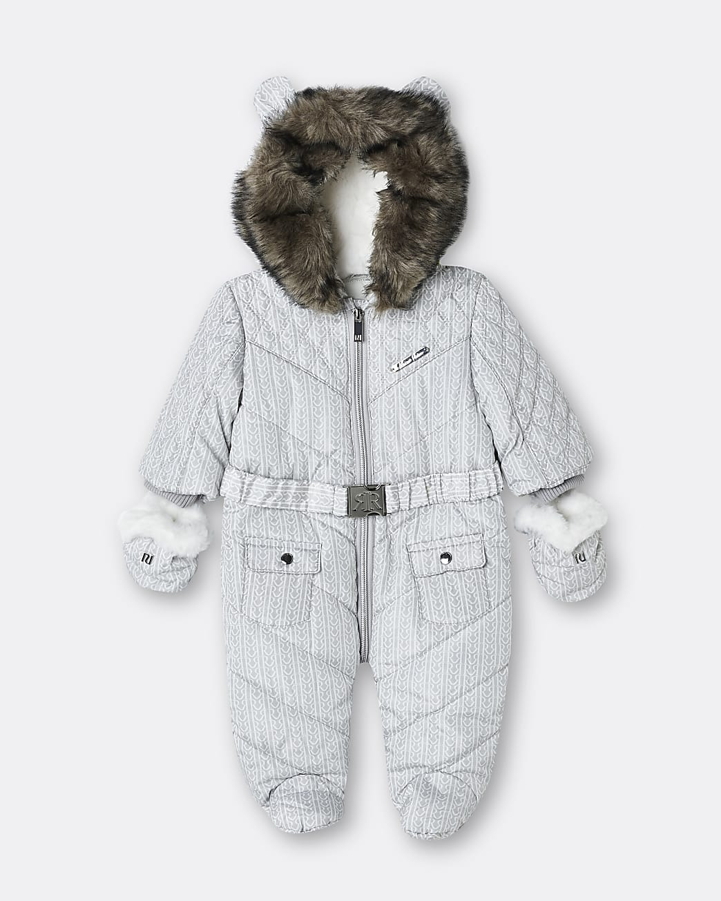 Baby grey RI monogram hooded quilted snowsuit