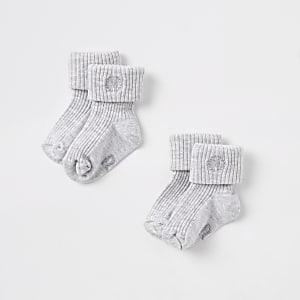 Multipack grijze sokken met RI-logo voor baby's