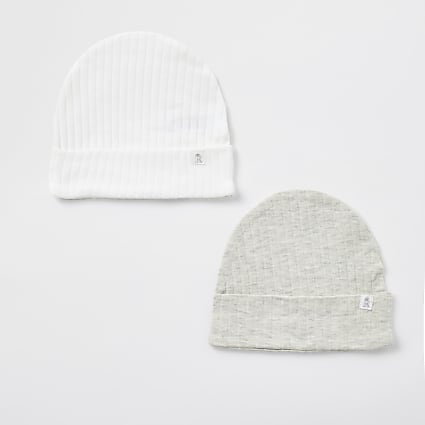 Baby grey ribbed beanie hat 2 pack