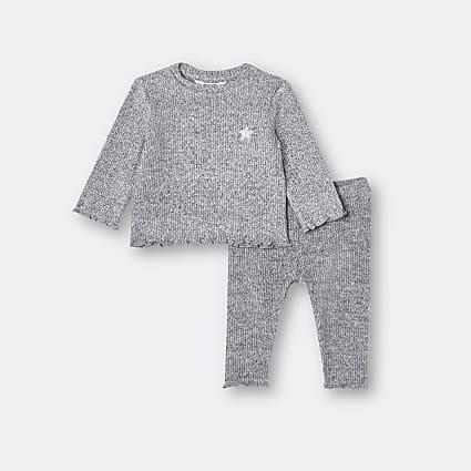 Baby grey ribbed long sleeve top and leggings