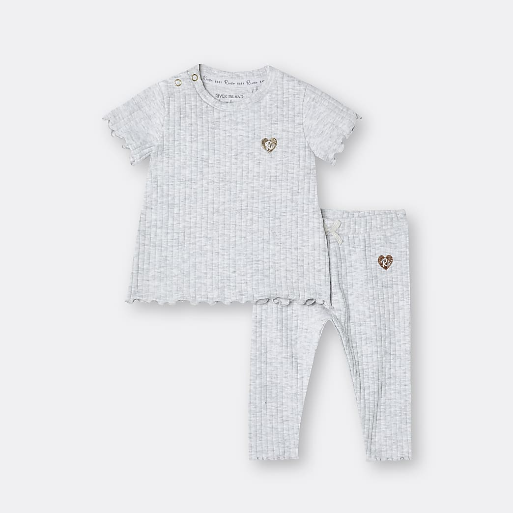 Baby grey ribbed outfit