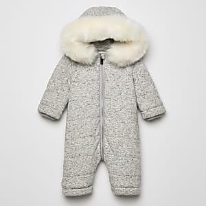 RIR– Grauer Schneeanzug mit Kunstfellkapuze für Babys