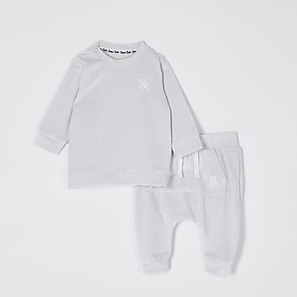 Baby grey velour jogger outfit