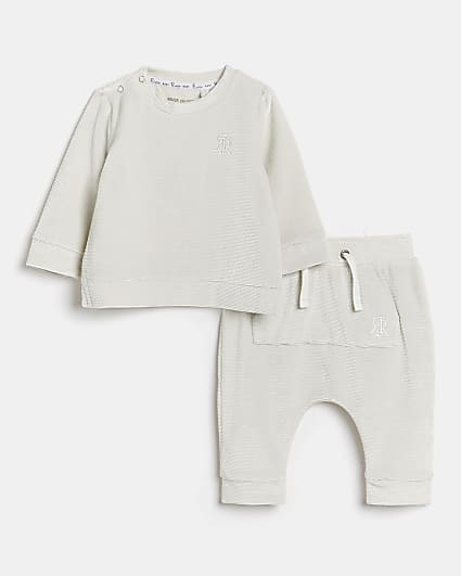 Baby grey velour rib long sleeve top outfit