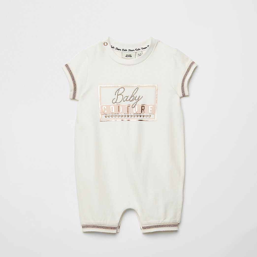 Baby ivory 'Baby Couture' romper