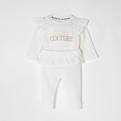 Baby ivory 'Couture' broderie frill outfit