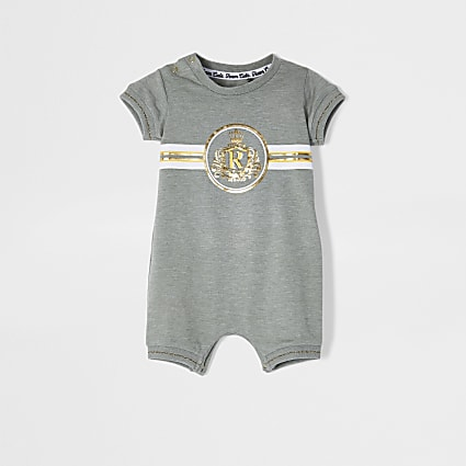 Baby khaki Crest Romper