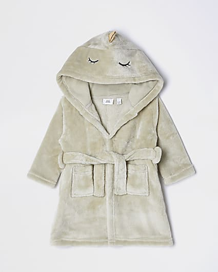 Baby khaki dino belted dressing gown