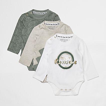 Baby khaki dinosaur babygrows 3 pack