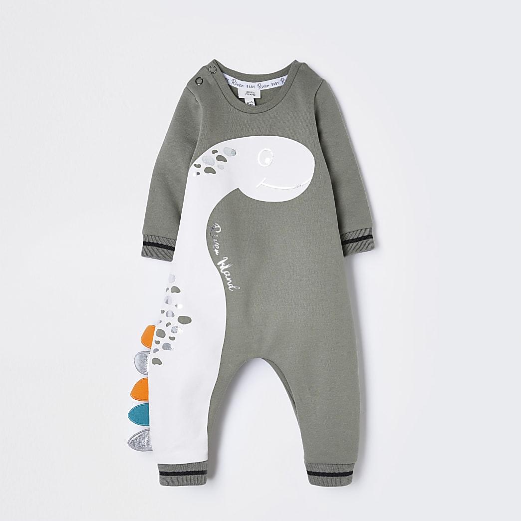 Baby khaki dinosaur romper
