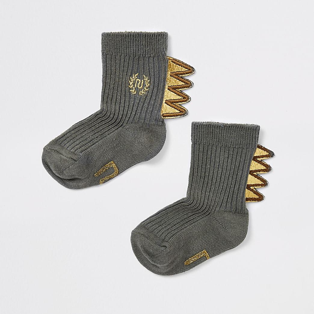 Baby khaki dinosaur socks