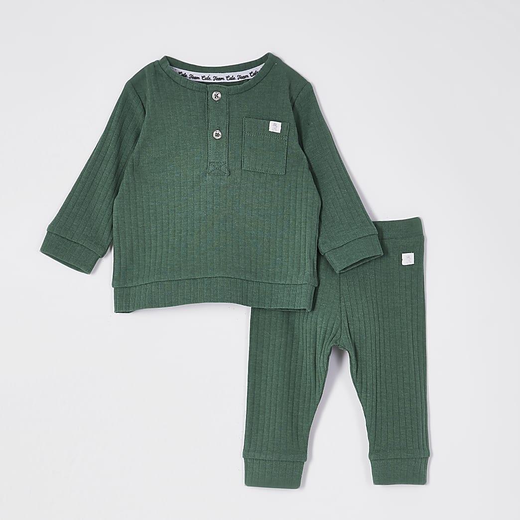 Baby khaki grandad collar top outfit
