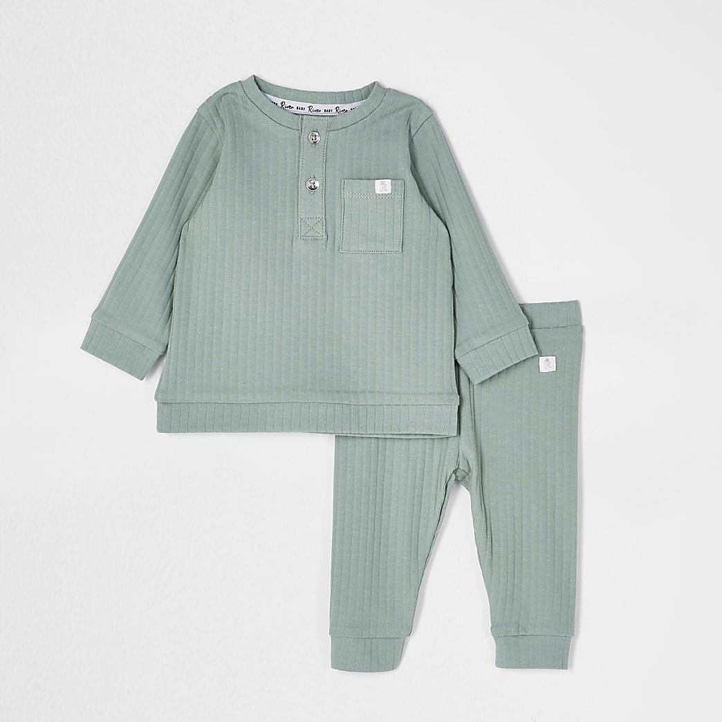 Baby khaki grandad ribbed legging outfit