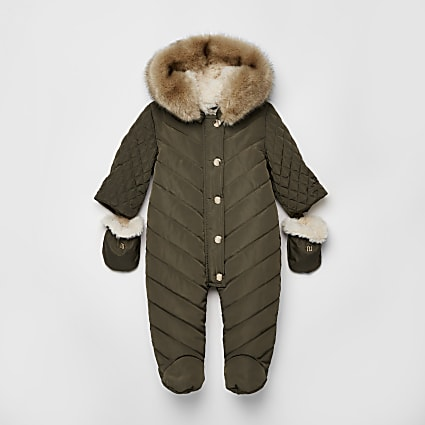 Baby khaki hooded snowsuit