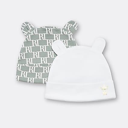 Baby khaki RI monogram beanie hats 2 pack