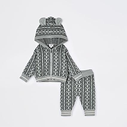 Baby khaki RI monogram hooded cardigan outfit