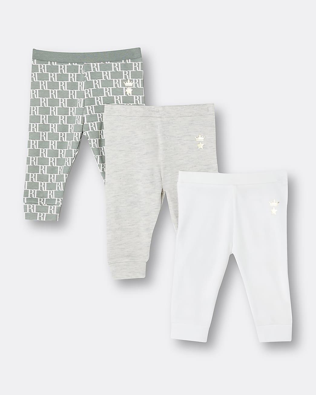 Baby khaki RI monogram leggings 3 pack