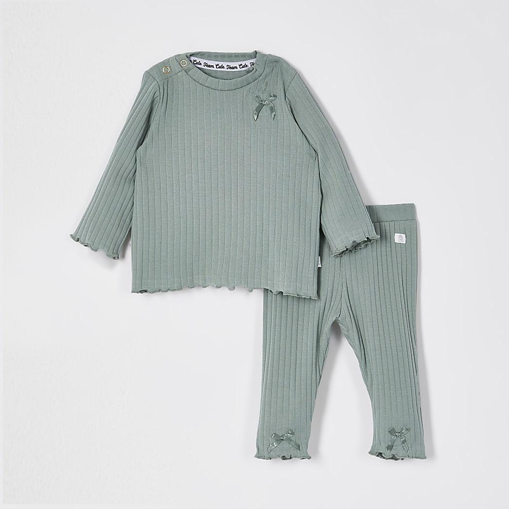 Baby khaki ribbed bow legging outfit