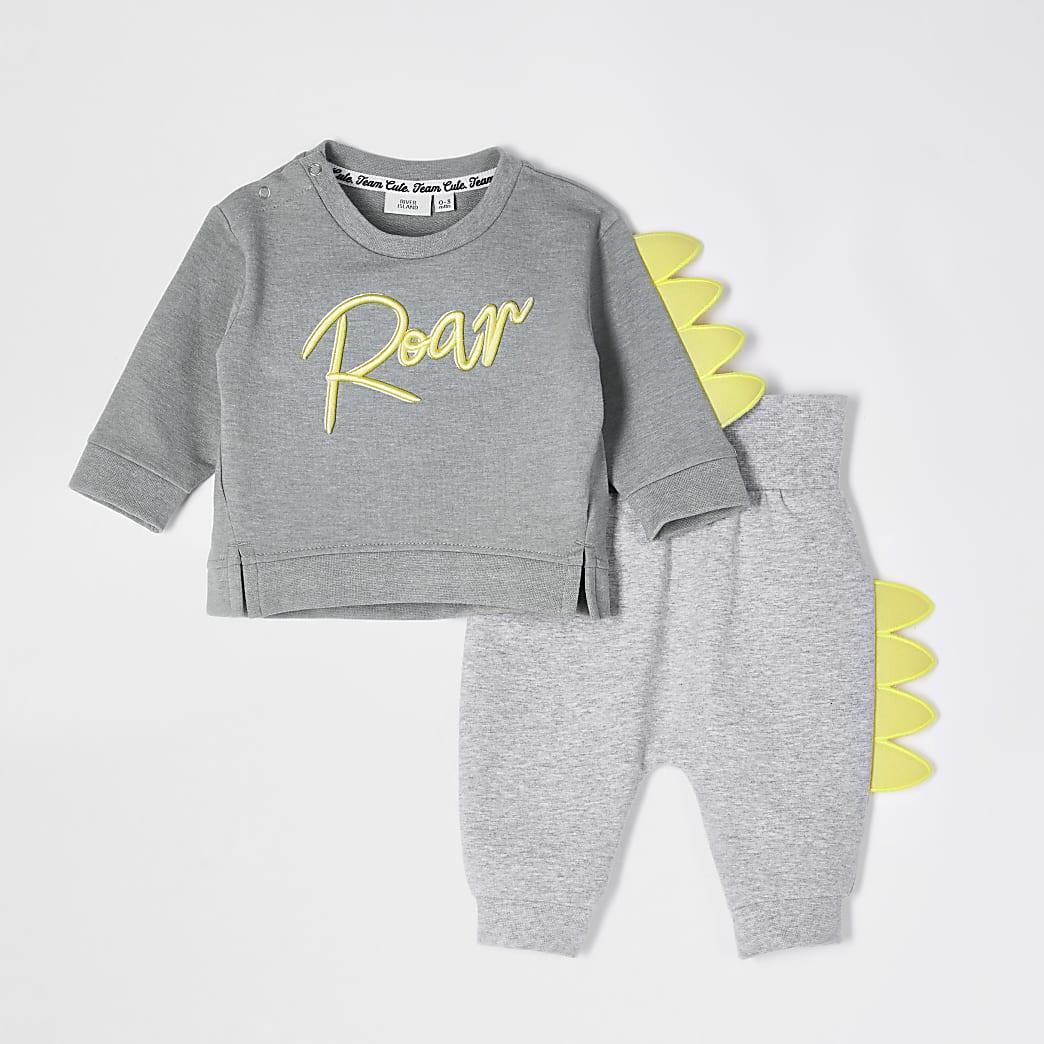Baby khaki 'Roar' dino sweatshirt outfit