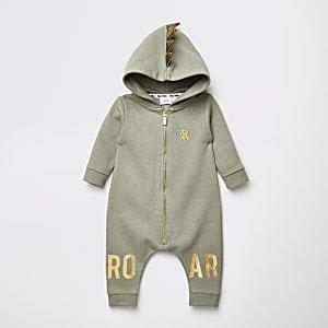 Kaki rompertje met capuchon en 'Roar'-tekst voor baby's