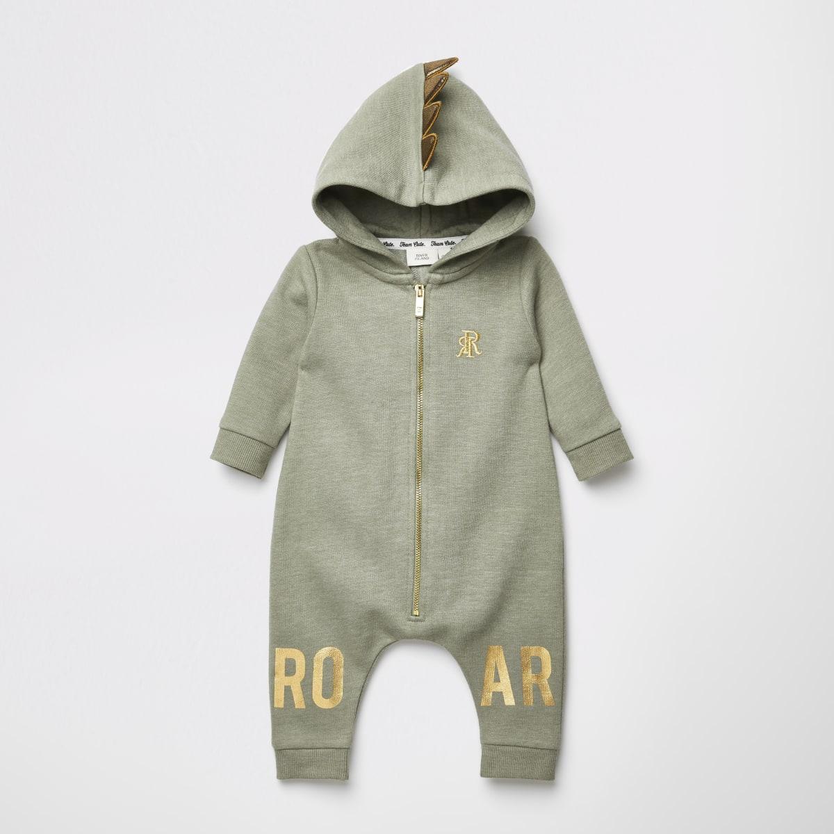 Baby khaki 'Roar' hooded baby grow