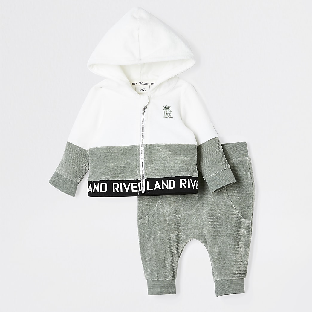 Baby khaki velour hoodie outfit