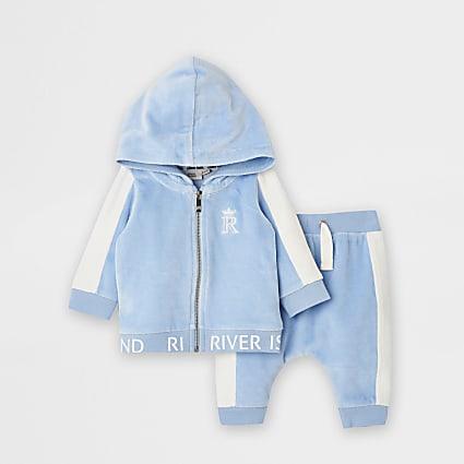 Baby light blue blocked velour sweat set