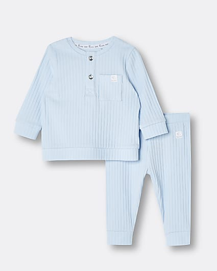 Baby light blue rib outfit
