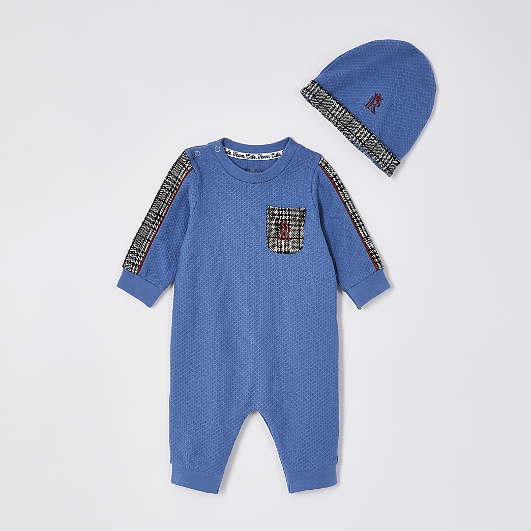 Baby navy check panel baby grow outfit