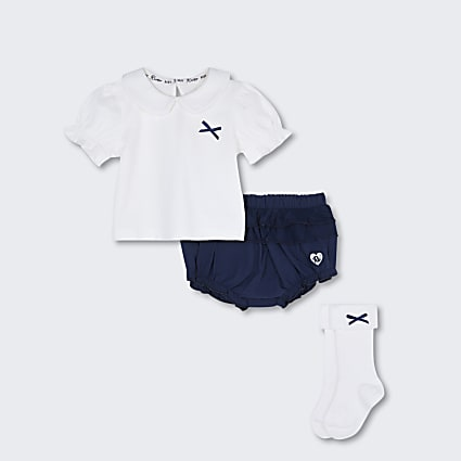 Baby navy collared bloomer outfit