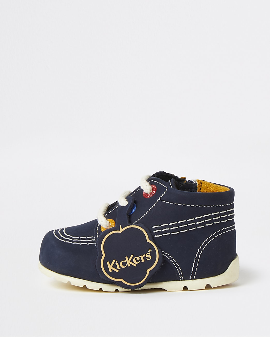 Baby navy Kickers lace up leather shoes