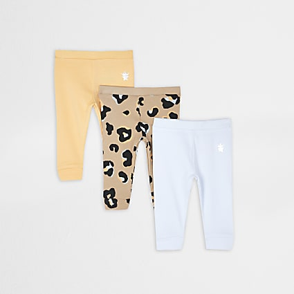 Baby orange leopard print leggings 3 pack