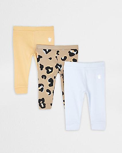 Baby orange leopard print leggings 3 pack