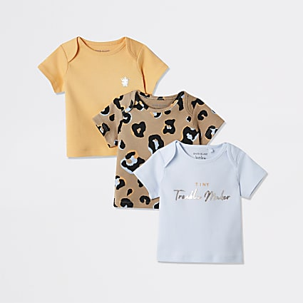Baby orange leopard print t-shirt 3 pack