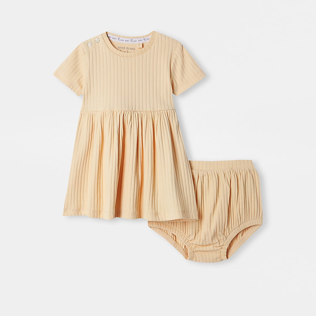 Baby orange ribbed dress and bloomer outfit