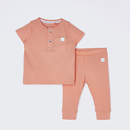 Baby orange ribbed outfit