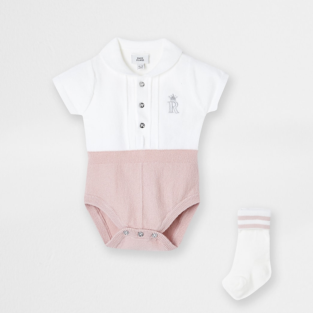 Baby pink 2 In 1 knit bodysuit