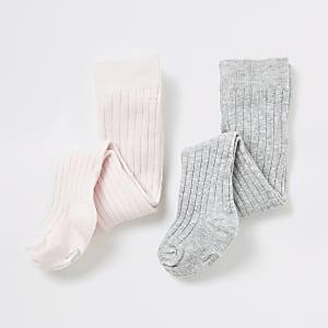Set van 2 roze en grijze panty's voor baby's